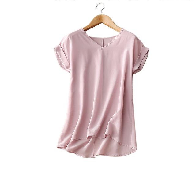 100% Blusas de Seda Pura das Mulheres Femme Casual Blusa Mulheres Sólidos Blusa Feminino Mulher de Manga Curta Tee Tops Camisas Patchwork
