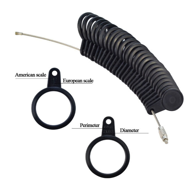 4PCS/set Jewelry Measuring Tool Set Rubber Hammer Plastic Finger Gauge Tape Black Ring Measuring Rod US Standard