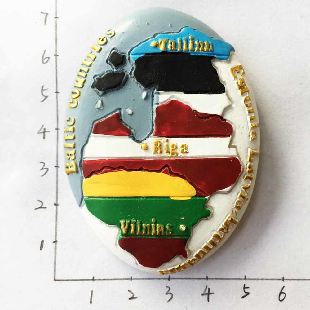 NEW Latvia Map of Riga Fridge Magnets Resin Handmade Refrigerator Magnetic Stickers Travel Tourist Souvenirs Gift