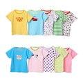 2016 100% Do Bebê Do Algodão Das Meninas Dos Meninos T camisa Tops Tees bebê Da Menina do menino de manga Curta Camisetas Blusa Roupas Bonito Dos Desenhos Animados V30
