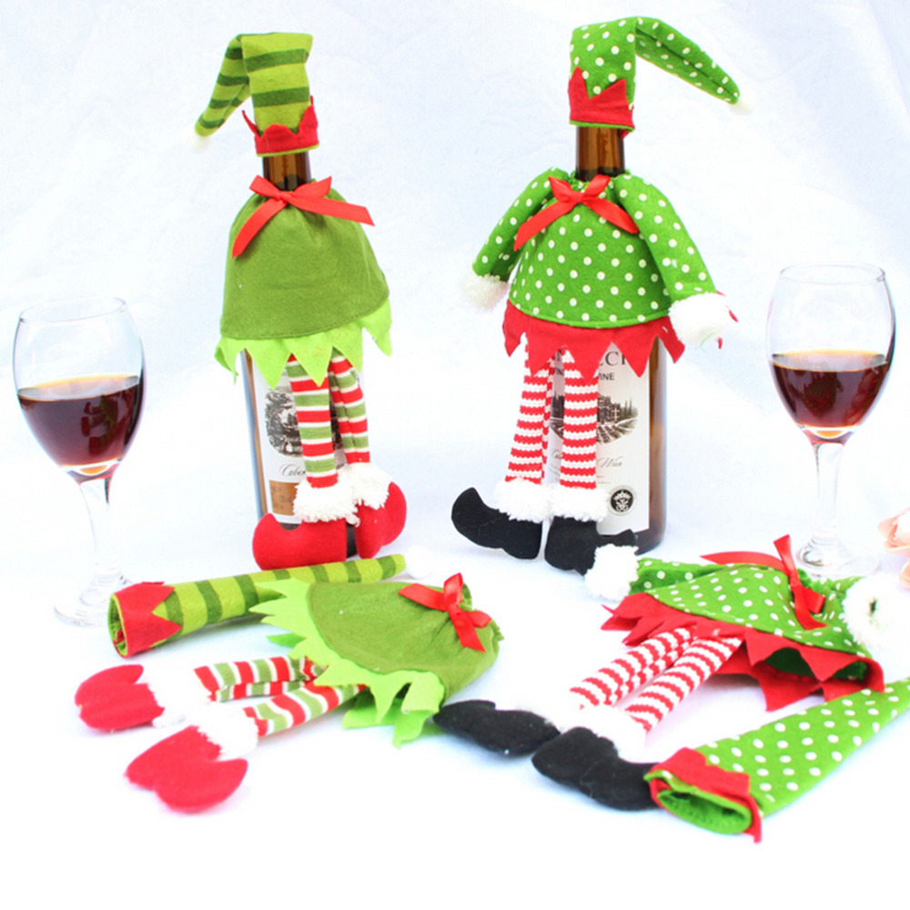 Wine bottle ornaments - 1 Pcs Red Wine Bottle Cover Bags Polka Dot Stripe For Christmas Home Party Red