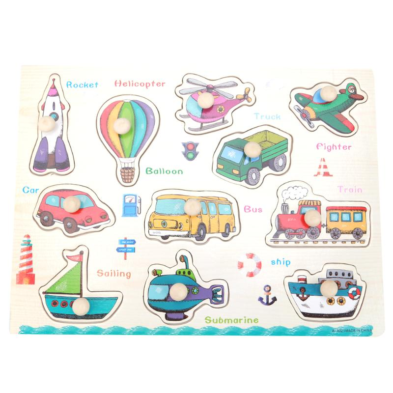 Puzzle en bois Jouet Enfants En Bois Véhicules Carte Cognitive Enfants Jouets Creative Drôle Jouets Avion Main Saisir Bouton Fixé Puzzle
