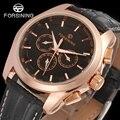 FORSINING FSG6625M3R1 новые автоматические Модные мужские наручные часы tourbillon  розовое золото  лучший подарок  бесплатная доставка