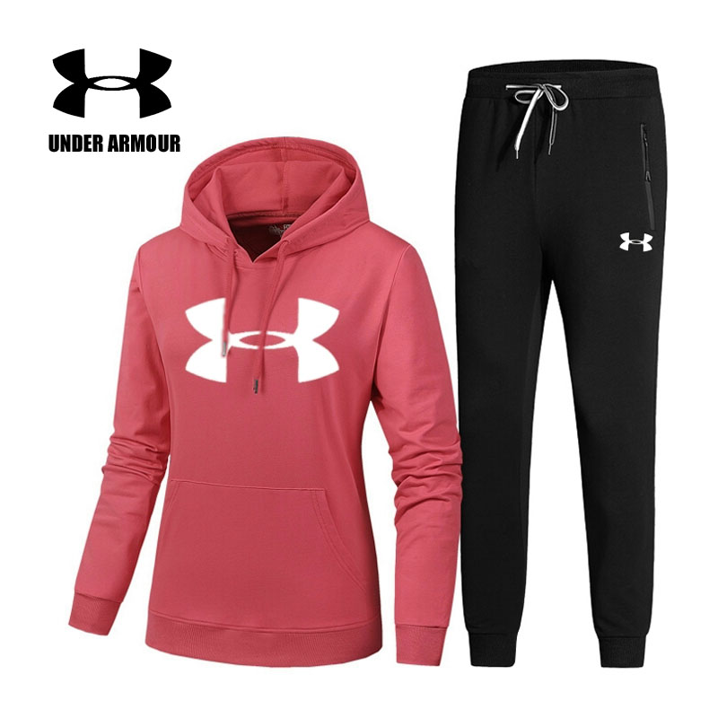 Under Armour Jogging suits for women Two-piece women running training Fitness Gym sports suits Pullover Sweatshirt +Pants fresh style stand collar elk print fleeced pullover sweatshirt for women