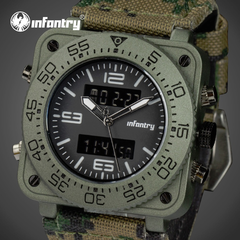 INFANTRY Men Luxury Quartz Watches Camo Dual Time Analog Digital Sports Watch Military Army Waterproof Chronograph