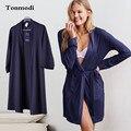Мода Халат Для Женщин Осень Хлопок Темно-Синий Хлопок Халаты Женщины Гостиная Плюс Размер L