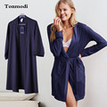 Fashion Robe For Women Autumn Cotton Dark Blue Cotton Bathrobes Women Lounge Plus Size L