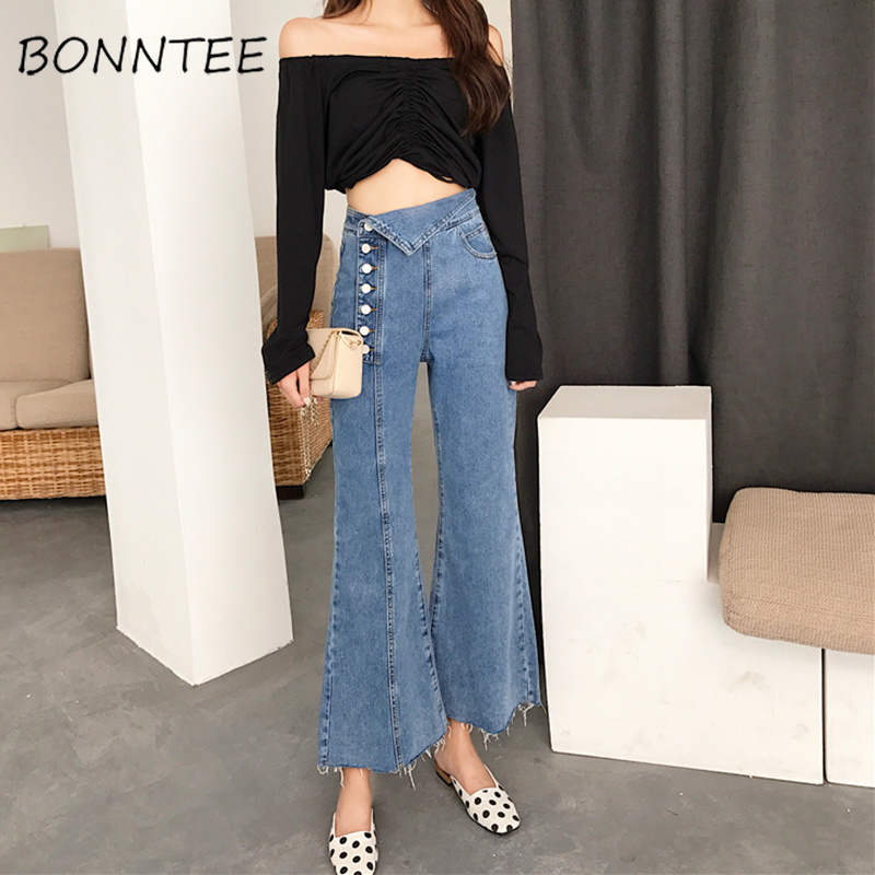 Jeans   Women Solid Simple Korean Style Flare Button Fly Ankle-length High Waist All-match Trendy Womens Soft Loose Chic Elegant