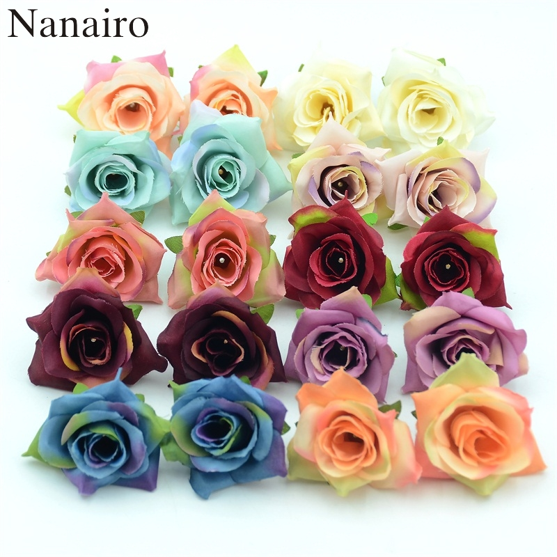 10PCS DIY High Quality Artificial Silk Flowers Head For Home Wedding Party Decoration Wreath Gift Box Scrapbooking Fake Flowers