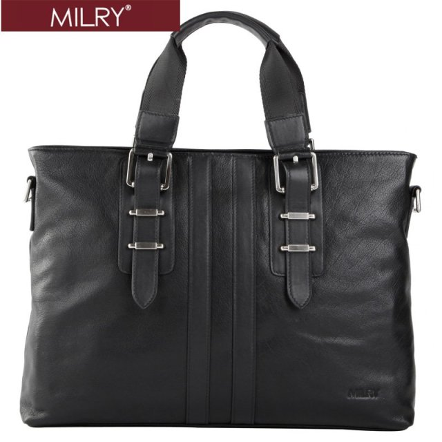 Free shipping Brand MILRY 100% Genuine Leather Business men Briefcase handbags messenger shoulder laptop bag CP0008-1