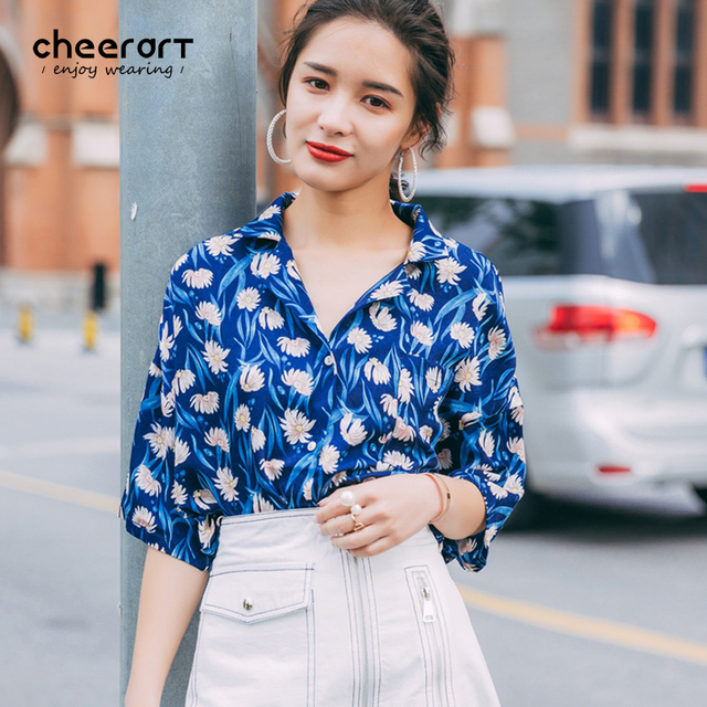 4f0fed4c93ff Cheerart 2017 Vintage Blue Floral Blouses Short Sleeve Button Shirt Women  Summer Loose Ladies Tops Korean Clothing
