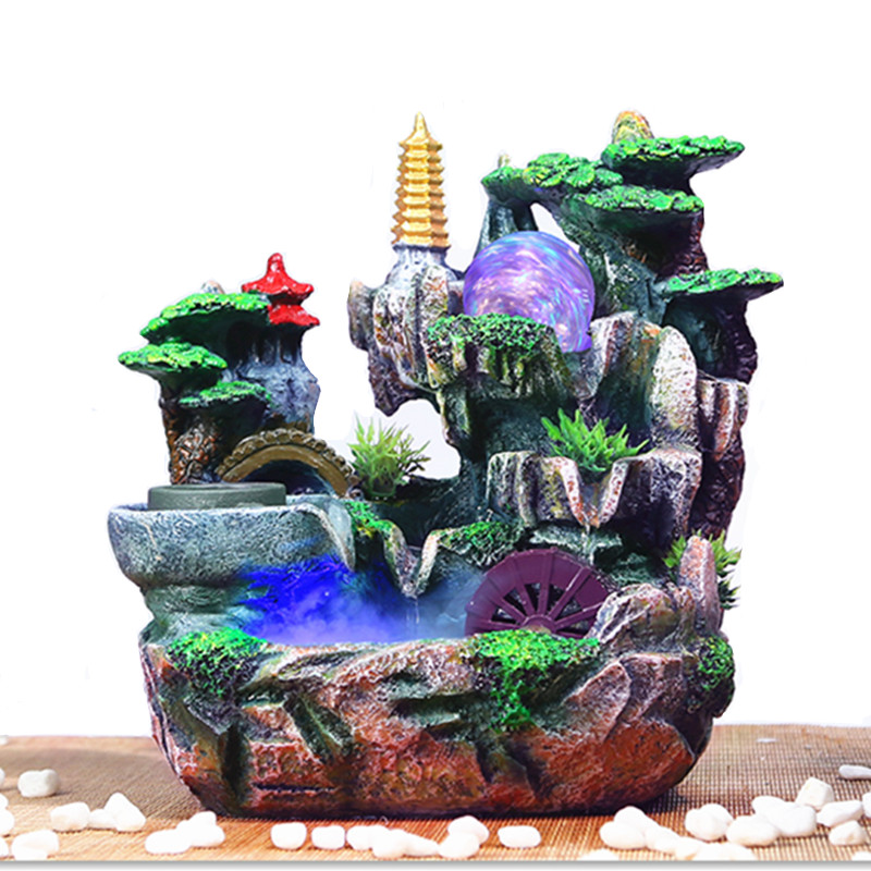 Water Fountains For Home Decor: Fake Mountain Water Fountain And Fengshui Wheel Humidifier