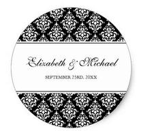 1.5inch Black and White Damask Round Wedding Favor Label Classic Round Sticker