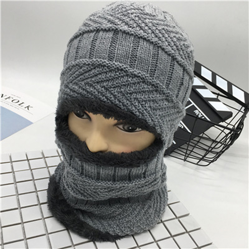 Unisex Neck warmer knit cap scarf cap two-piece Winter Hats For Men Fur Winter Beanie Fleece Hat balaclava with Neckwarmer donnalla cute hat beanie hooded neck shawls baby kids winter warmer knit woolen crochet bowknot cape scarf hats