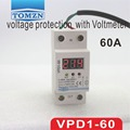 60A 220V automatic reconnect over voltage and under voltage protection protective device relay with Voltmeter voltage monitor