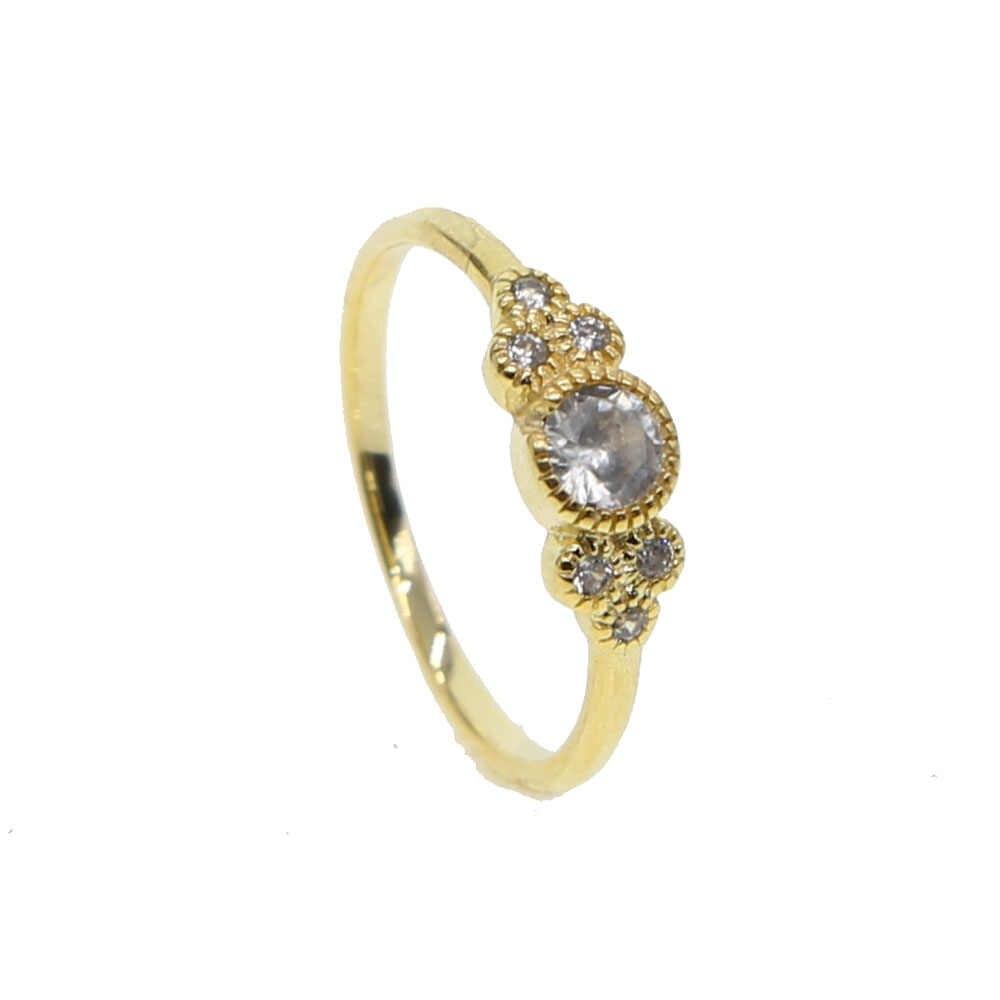 2019 Luxury Gold สีแหวนหมั้นแหวนรอบหินงานแต่งงานแหวนนิ้วมือสำหรับผู้หญิงคนรักแฟชั่นเครื่องประดับเครื่องประดับ