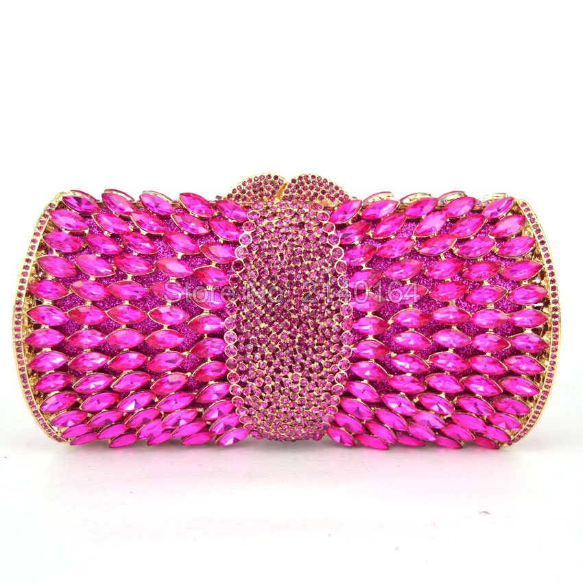 Magenta Fashion Crystal Clutches Evening Bags Women Party Purse Luxury Clutch Bag Ladies Night Bags Wedding Chain HandBag Q65