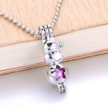 6pcs Santa Claus Christmas Pearl Cage Jewelry Making Bead Cage Pendant Perfume Essential Oil Diffuser Lockets Aroma Necklace(China)