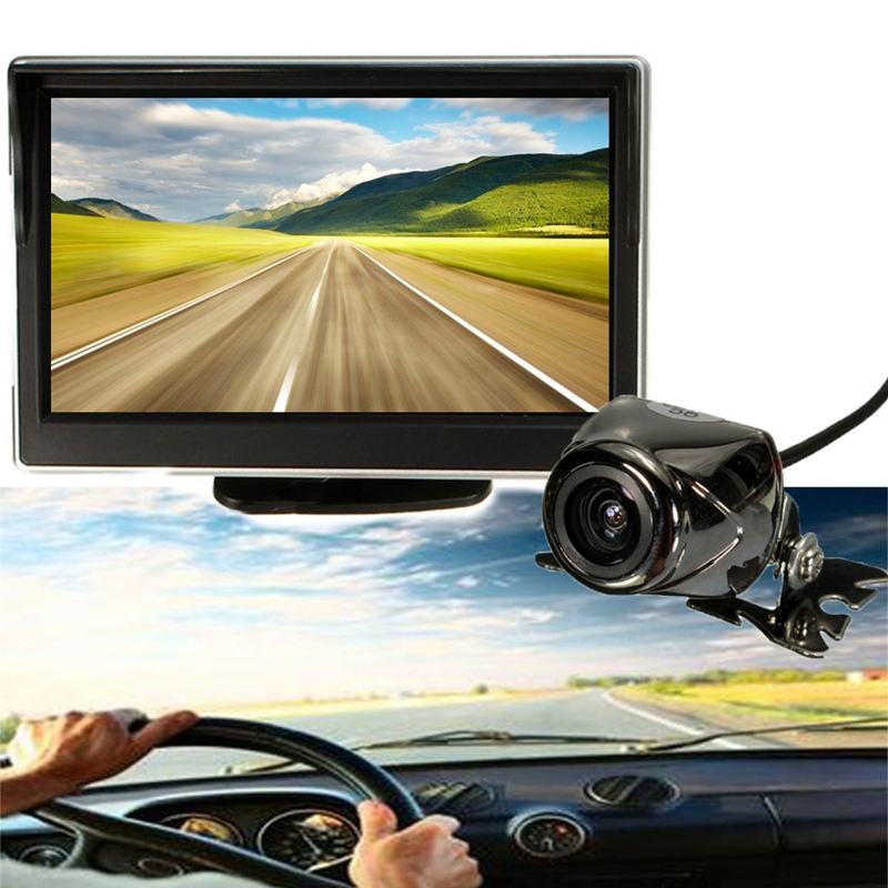 5 Inch 12V Car Camera LCD Computer Reverse Monitor IR Wireless Car Rear View Backup Reversing