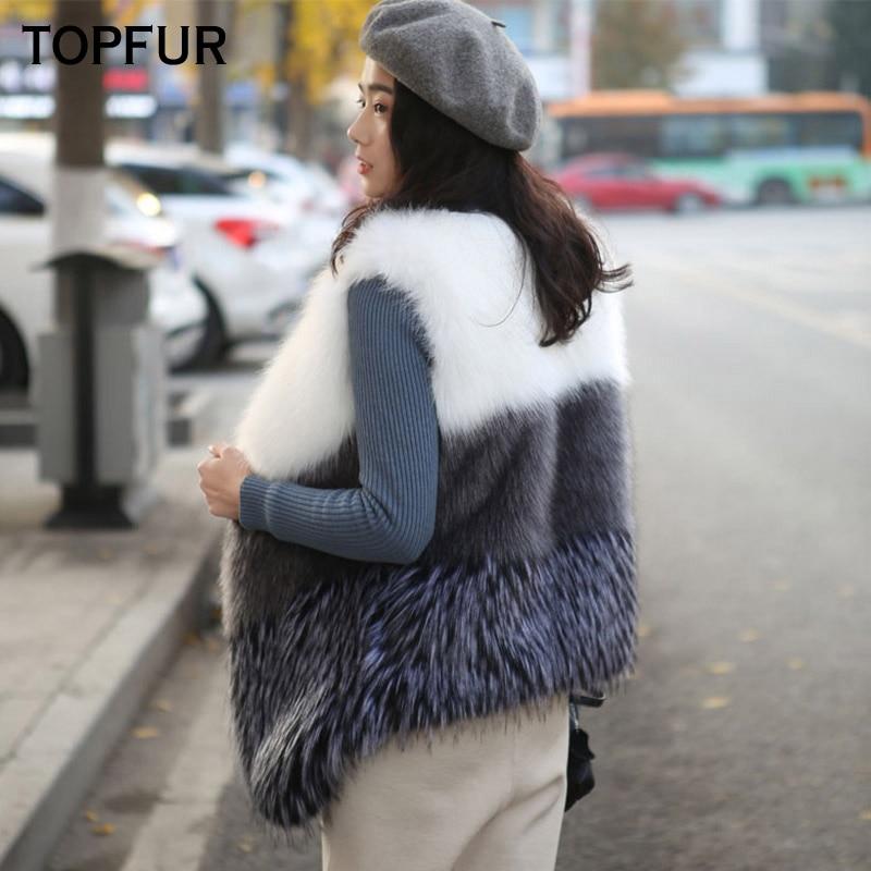 TOPFUR 2018 New Real Fur Vest Women Winter Natural Fox Fur Gilet Luxury Female Fashion Style Fox Fur Waistcoat V-Neck Fur Vest