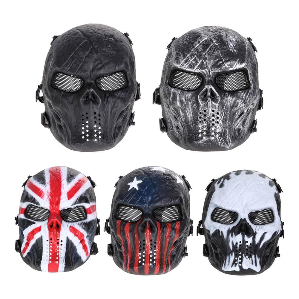 Skull Airsoft Party Mask Paintball Full Face Mask Army Games Mesh Eye Shield Mask for Halloween Cosplay Party Decor