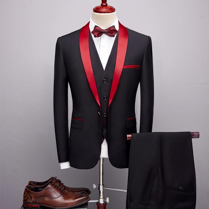 Мужской костюм, комплект из 3 предметов (куртка + брюки + жилет), новый высококачественный мужской повседневный костюм с шалью и воротником, с