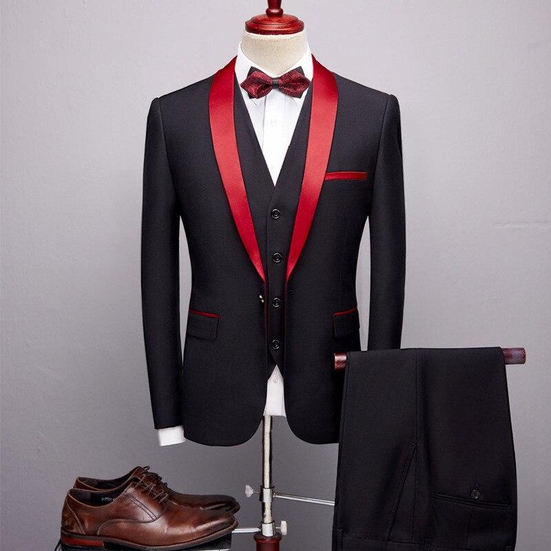 Men's Suit 3 Piece Set (jacket + Pants + Vest) New High Quality Men's Shawl Collar Casual Suit Wedding Banquet Dress