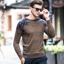 autumn winter pullovers o-neck thicke long sleeve business casual man's argyle wool