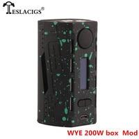 Original Tesla WYE 200W Mod Electronic Cigarette Kit ABS+PC Vape Box Mod Kit 8.4V Max Output Voltage TESLACIGS WYE Mod