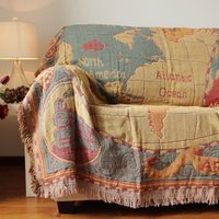 Free Shipping 100 Cotton Thread Three Layers Thicken American Style Map Throw Single Double Size Sofa