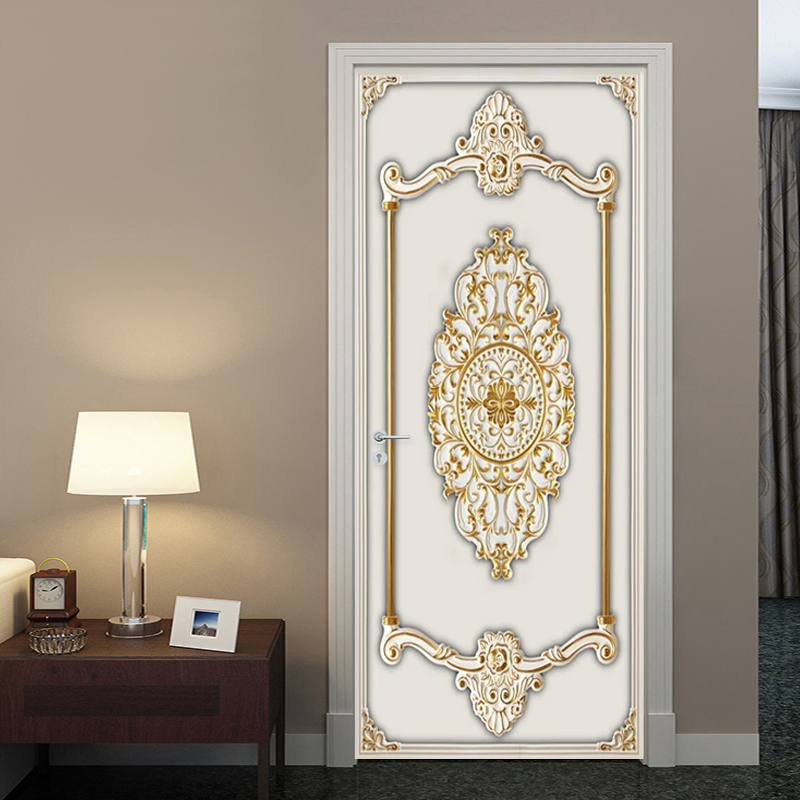 Self-Adhesive Door Sticker 3D Stereo Gold Gypsum Pattern Wallpaper European Style Living Room Bedroom Door Stickers 3D Painting