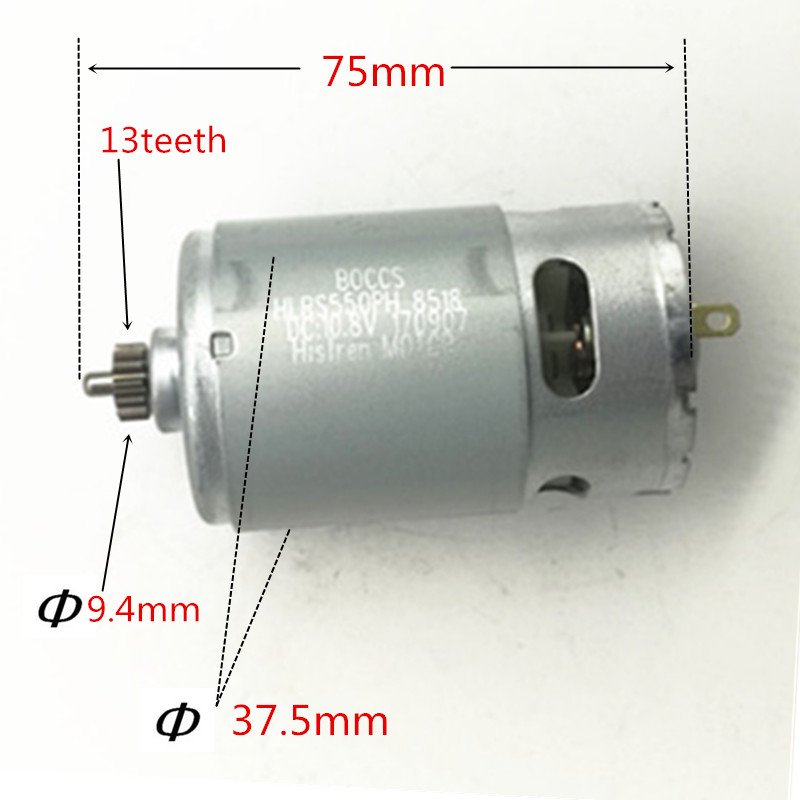 13 Teeth RS-550VC-8518 Motor 10.8V 12V Replace for BOSCH GSR10.8-2-LI GSR12-2-LI GSR10.8V-LI GSR12-LI PS21 GSR10.8V-LI-2 аккумулятор patriot 12v 1 5 ah bb gsr ni