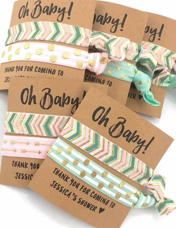 10pcs Personalized Gender Neutral Baby Shower Favors Elastic Hair Ties Wedding Bachelorette Birthday Elastic Wristbands Anklets