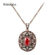 d09f54267a38 Wbmqda rojo de piedra natural Collar para las mujeres étnicas joyería  Bohemia oro antiguo color cristal collar regalos del parti.