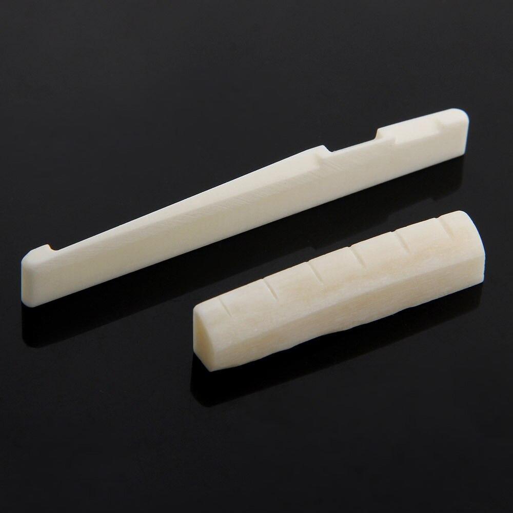 Bone Bridge Pins Nail Nut Saddle Part For Acoustic Folk Guitar 1 Set
