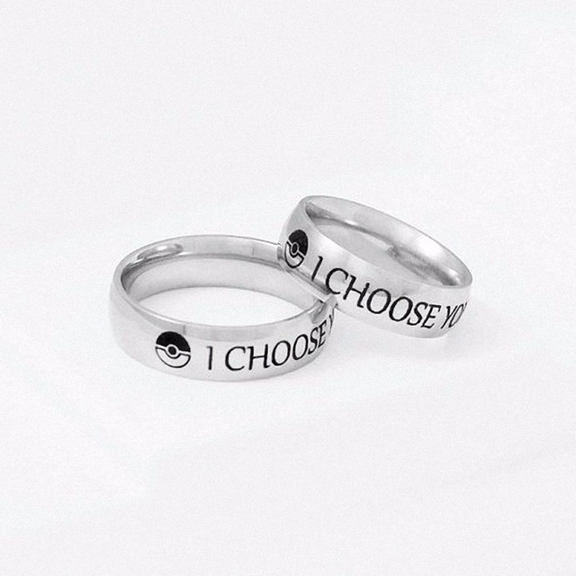 I Choose You Ring Couple Stainless Steel Engagement Rings for Him and Her Ring o