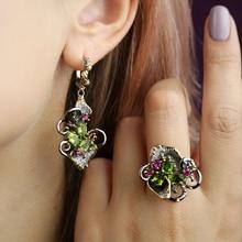 Olivine Crystal Earrings Ring Jewellery Set Leaf Dangle Color Zircon Gun Metal Nice 2pcs Jewelry Sets for Women