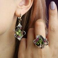 Olivine Crystal Earrings Ring Jewellery Set Leaf Dangle Earrings Color Zircon Gun Metal Nice 2pcs Jewelry Sets for Women