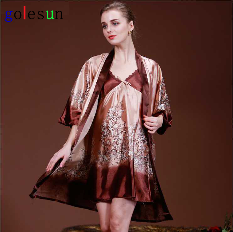 lady spring and autumn robe hanging skirt leisurewear emulation silk homewear women's sleep lounge set