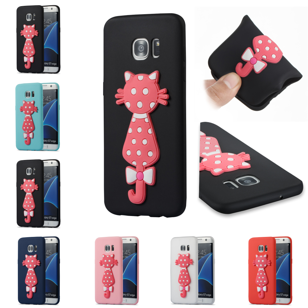Cute TPU 3D Cat Silicone Cartoo Cover Kryty Shell Cubierta Phone Case Bag For Samsug Sumsung Samsun Galax Galaxy S7 Edge G935F