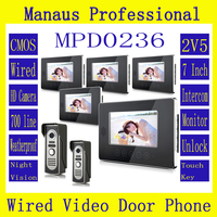 Hot Sale Touch Key SmartHome Black 7Inch TFT LCD Screen Video Intercom Phone Two To Five