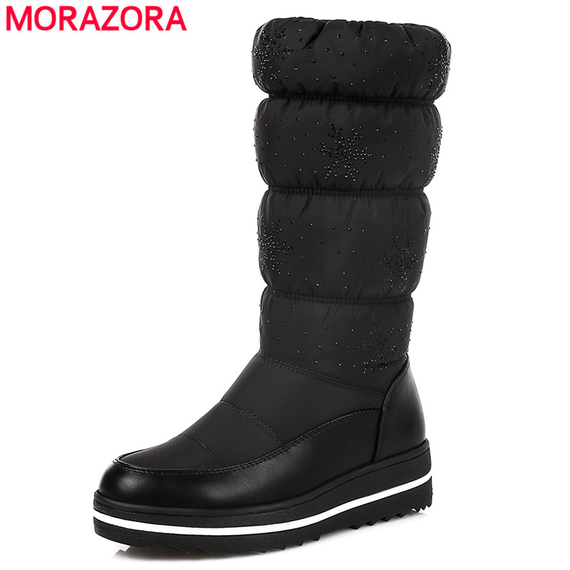 MORAZORA Plus size 35-44 Russia snow boots thick fur inside winter warm women boots soft pu leather mid calf high boots black morazora russia women boots big size 35 44 keep warm snow boots platform winter mid calf boots fashion shoes solid white color