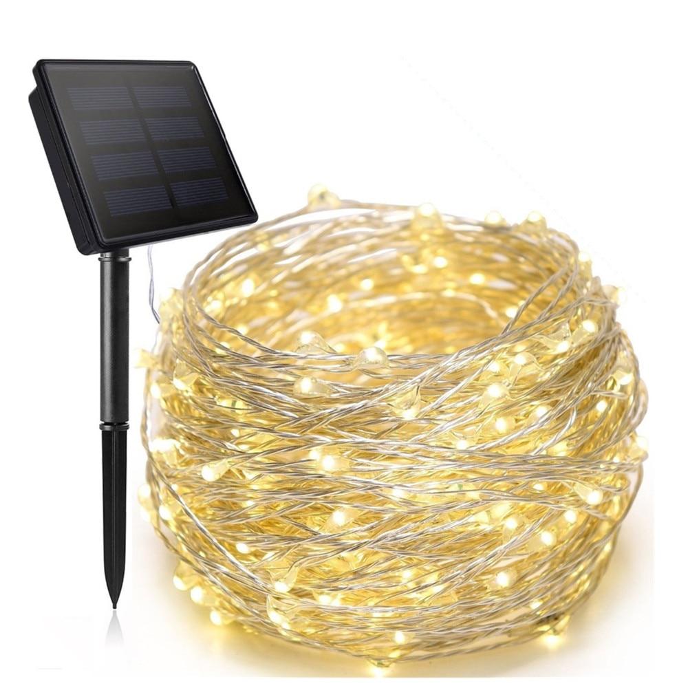 Año Nuevo LEDs de luz solar al aire libre de las luces de hadas de Navidad guirnaldas de fiesta de jardín Solar Helloween Decoración