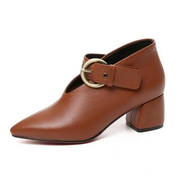 Spring and autumn new women pointed toe medium heel ankle boots Fashion boots Ladies black/brown solid buckle short boots black blue round toe low heel ankle boots for women ladies spring and autumn short boots fashion boots female dress shoes
