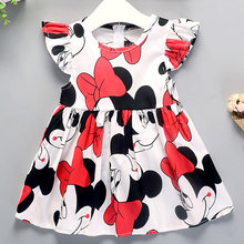 Girls Dress 2019 Summer New Dress Girl Cartoon Pattern Cotton Dress Baby Cotton Floral Princess Dress(China)