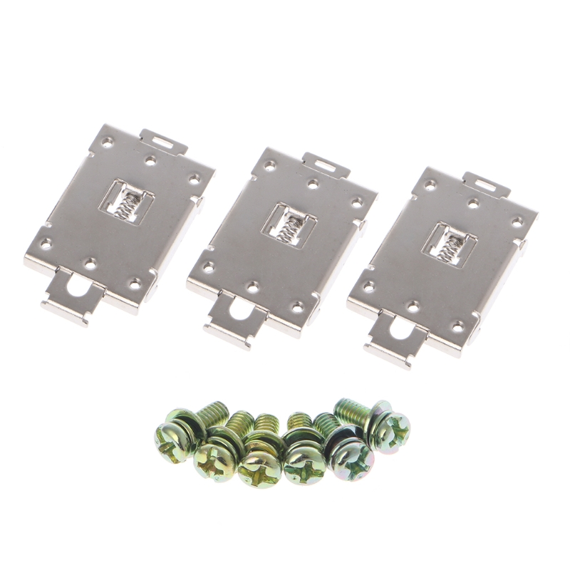 3 Pcs Single Phase SSR 35mm DIN Rail Fixed Solid State Relay Clip Clamp w./ 6 Mounting Screws L15 ssr 40da single phase solid state relay white silver