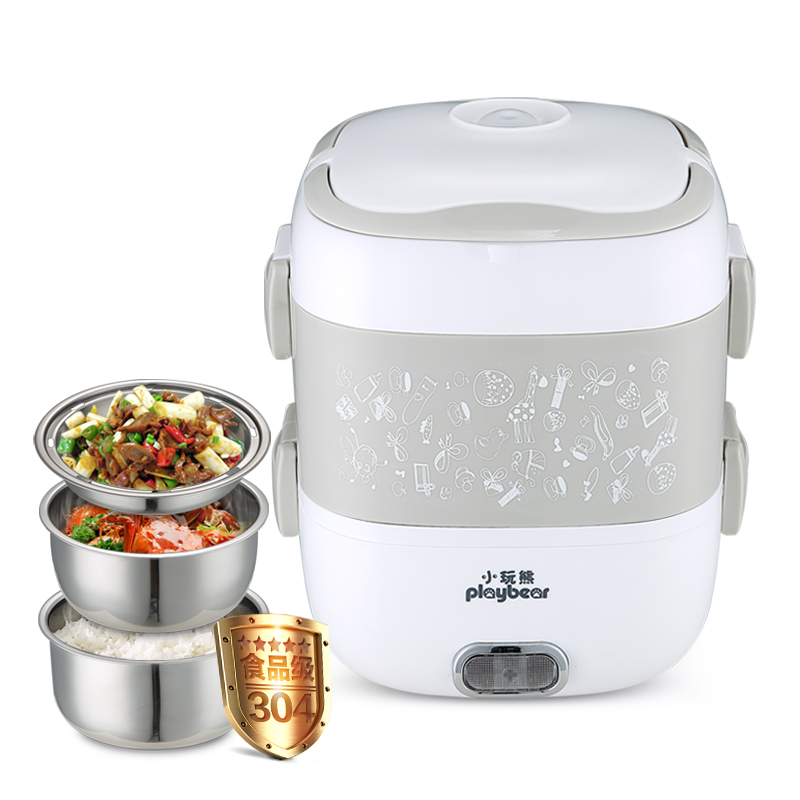 Lunch electric box Mini Portable Rice Cooker Three Layers Can Be Inserted Electric Heating Cooking Heat Rice Artifact 1.8L multi function electric lunch box stainless steel tank household pluggable electric heating insulation lunch box