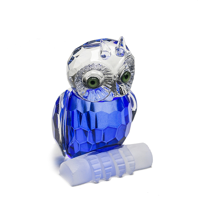 H&D Cute Crystal Owl Figurine Miniatures Art Glass Paperweight Animals Table Centerpiece Ornament Home Decor Kid's Gift(Blue) 1