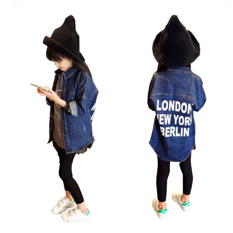 Baby Girls Jean Jacket Children Fashion Denim Solid Full Sleeve Outerwear Kids Girls Spring Autumn Coat free shipping