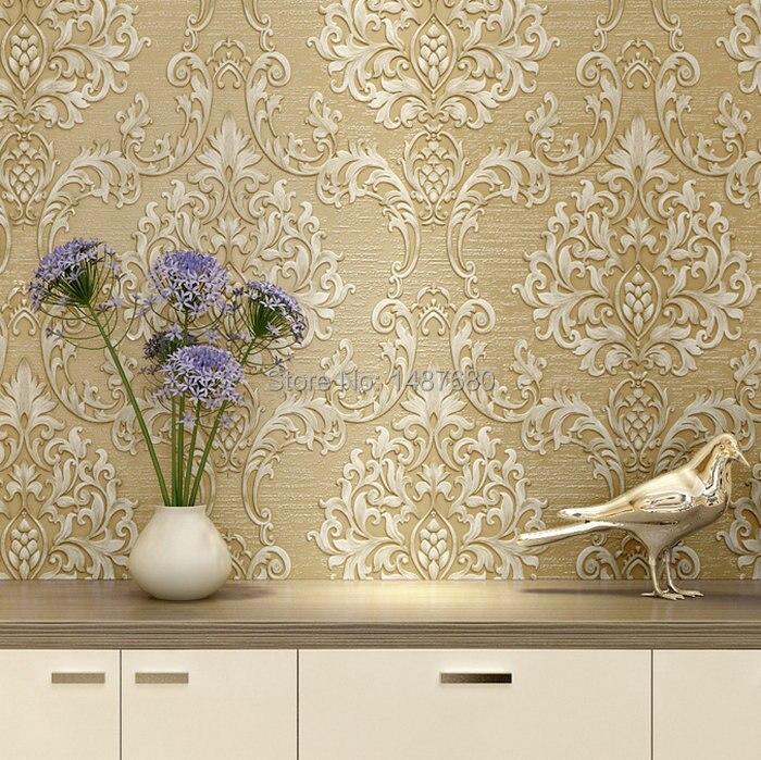 Buy european non woven metallic floral for Paper wallpaper designs